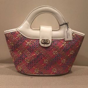 NWT Lulu Guinness Pink/White/Colorful Satchel